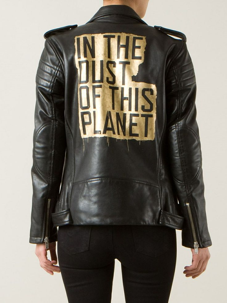 In The Dust of this Planet leather jacket. The words were taken from a book by philosopher Eugene Thacker.