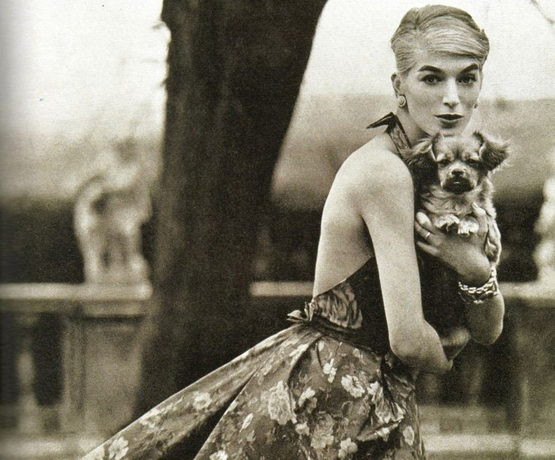 Helmut Newton. Dress by Susan Small; dog is a Tibetan spaniel puppy
