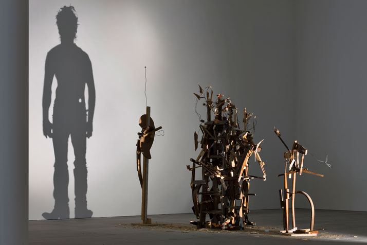 """""""Nihilistic Optimistic"""" by artists Tim Noble and Sue Webster explore what it means to be human with broken scraps of wood."""