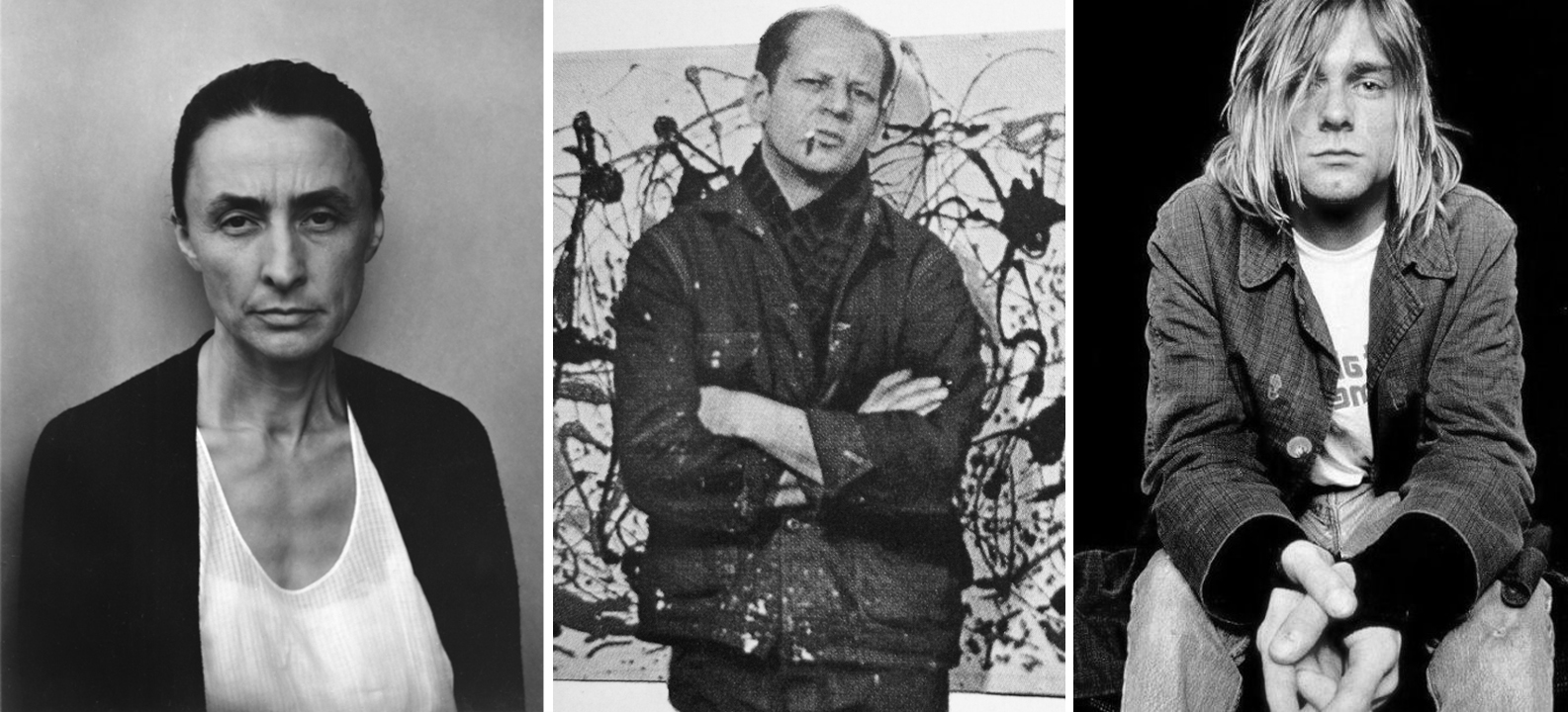 Left to right: Georgia O'Keeffe, Jackson Pollock, Kurt Cobain