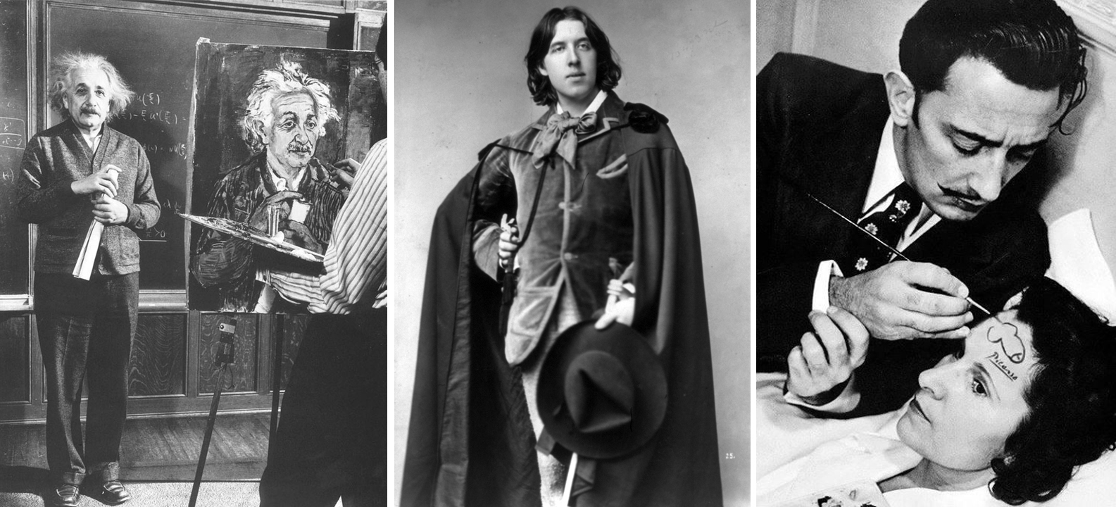 Left to right: Einstein, Oscar Wilde, Salvador Dali